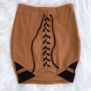 REHAB Skirt Corset Front Faux Suede Boydcon